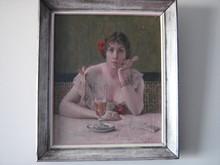 Georges VAN NUFFEL - Gemälde - The woman with absinthe