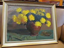 Aarnout VAN GILST - Painting - Gelber Chrysanthemenstrauß