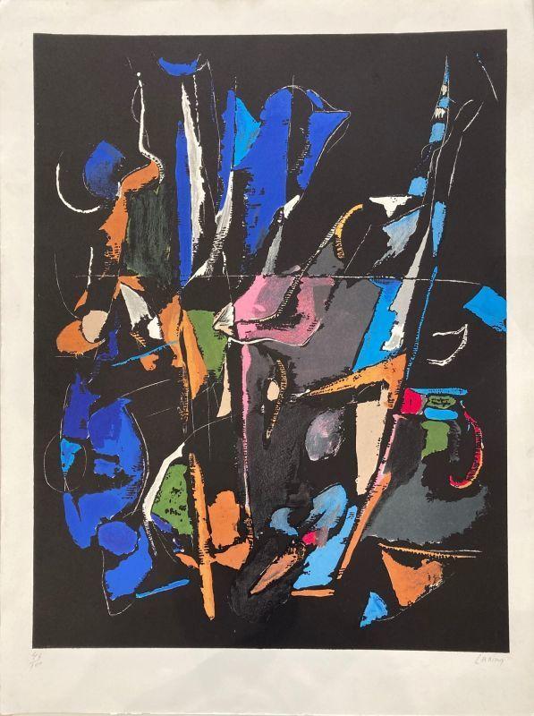 André LANSKOY - Grabado - Composition abstraite sur fond noir