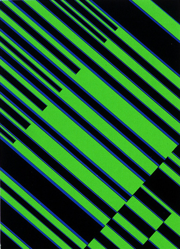 Günter FRUHTRUNK - Estampe-Multiple - Blaue Interferenzen im Grün