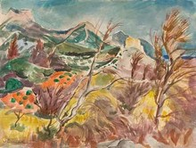 Willy EISENSCHITZ - Drawing-Watercolor - Mont Saint Victoire