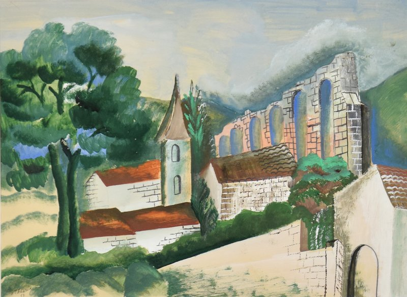 Ossip ZADKINE - Drawing-Watercolor - Le Village à l'Aqueduc