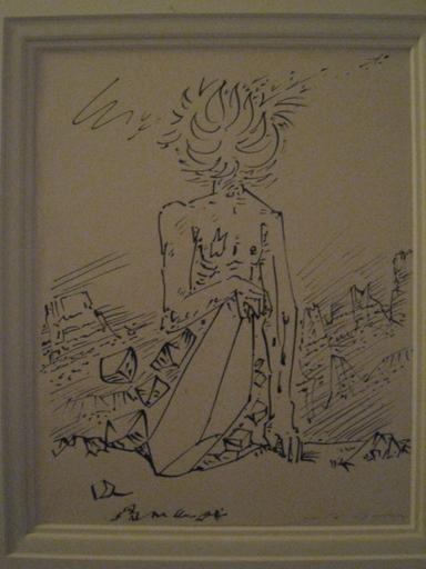 André MASSON - Disegno Acquarello - L HOMME SILEX