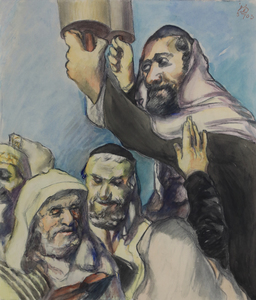 Ludwig MEIDNER - Disegno Acquarello - Lifting the Torah