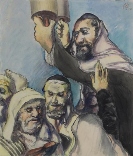 Ludwig MEIDNER - 水彩作品 - Lifting the Torah
