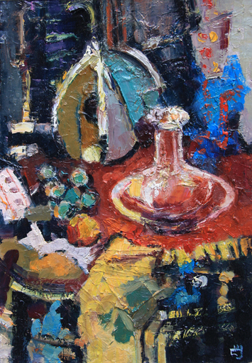 Levan URUSHADZE - Peinture - Sill life with glass decanter