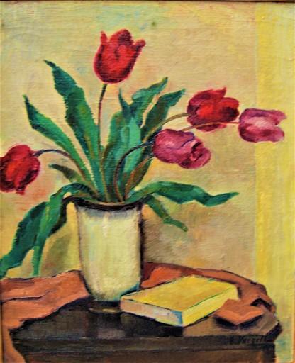 Ernest VOEGELI - 绘画 - Tulipes rouge dans un vase.