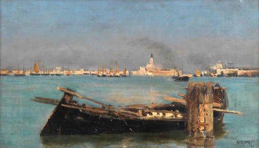 Guglielmo CIARDI - Gemälde - Barcone in laguna con Venezia sullo sfondo