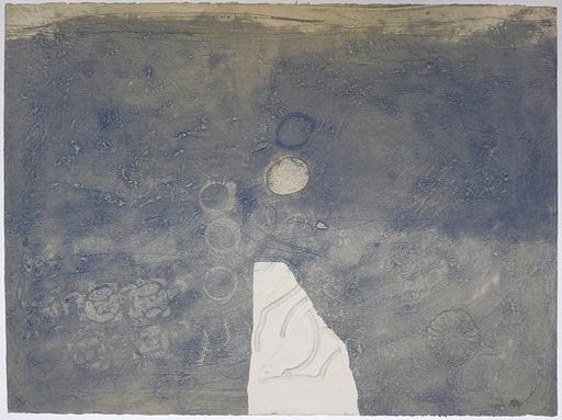 Antoni CLAVÉ - Grabado - Gaufrages sur fond bleu