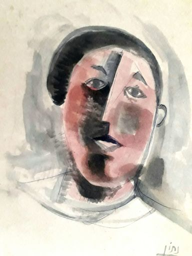 Avraham NATON - Drawing-Watercolor - Self portrait with a Bert