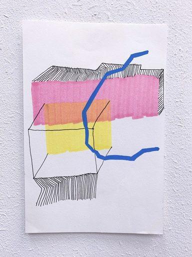 Johanna PACHECO SURRIABLE - Drawing-Watercolor - « Cube et ligne »