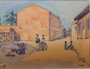 Charles BROUTY - Dibujo Acuarela - Rue animée au Sénégal
