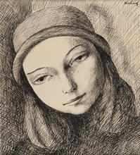莫依斯·基斯林 - 水彩作品 - Portrait de femme au chapeau