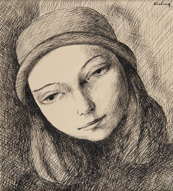 Moïse KISLING - Dessin-Aquarelle - Portrait de femme au chapeau