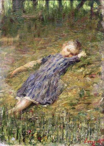 Emilio LONGONI - Gemälde - Bambina sul prato