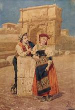 Giuseppe AURELI - Dibujo Acuarela - Roma, ciociari all'Arco di Tito
