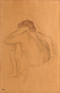 Edgar DEGAS - Drawing-Watercolor - Femme s'essuyant