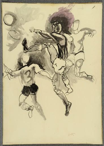 Renato GUTTUSO - Disegno Acquarello - Foot-ball