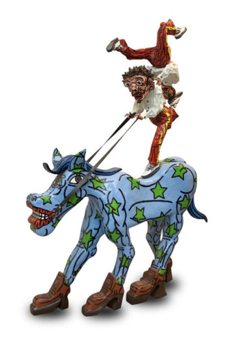 Robert COMBAS - Sculpture-Volume - Jason le cheval écologiste et les deux équilibristes..