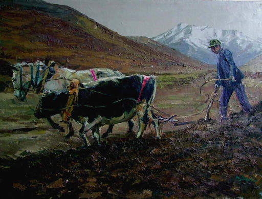 ZHANG Ai Min - Painting - 春耕 The Farmer