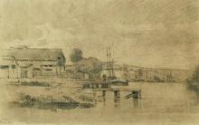 Albert Marie LEBOURG - Dessin-Aquarelle - L'embarcadère sur la Seine à Canteleu près de Rouen