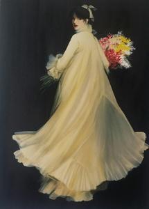 René GRUAU - Print-Multiple - Elegante  au bouquet