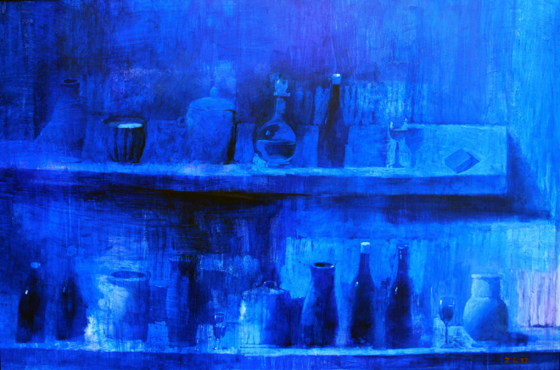 Zurab GIKASHVILI - Pintura - Still life in blue