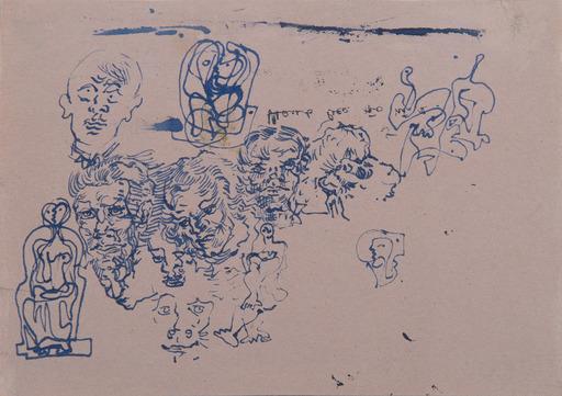 Salvador DALI - Drawing-Watercolor - Étude d'un groupe de têtes d'hommes, d'une tête de lion et d