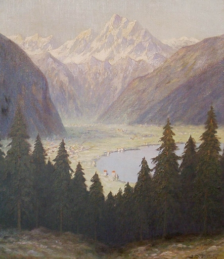 Josef DEDERICHS - Painting - Gebirgssee