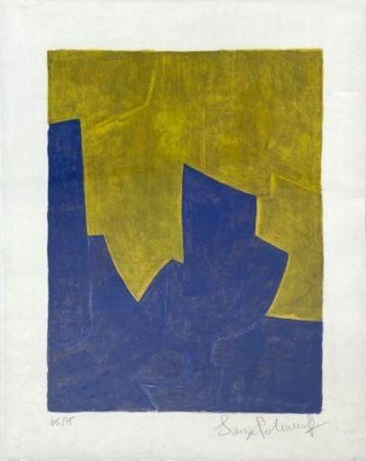 Serge POLIAKOFF - Estampe-Multiple - Composition bleue et jaune n°61