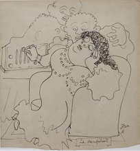 Jean COCTEAU - Drawing-Watercolor - La sanfiliste