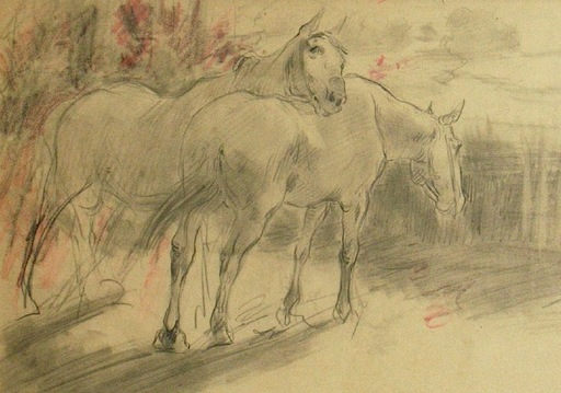 Ulpiano CHECA Y SANZ - Zeichnung Aquarell - Deux chevaux au repos sur la lisière d'une forêt