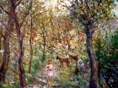 Mikhail LARIONOV - Painting - Girls with goats in a forest