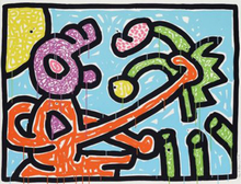 Keith HARING - Stampa Multiplo - Flowers I (Blue)