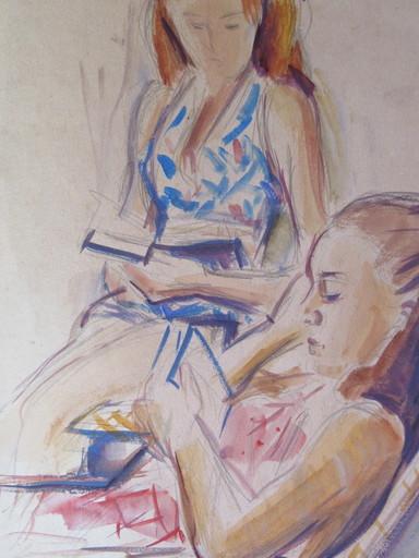 Marius WOULFART - Drawing-Watercolor - La lecture