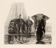 Paul JOUVE - Grabado - Eléphant du temple de Madura