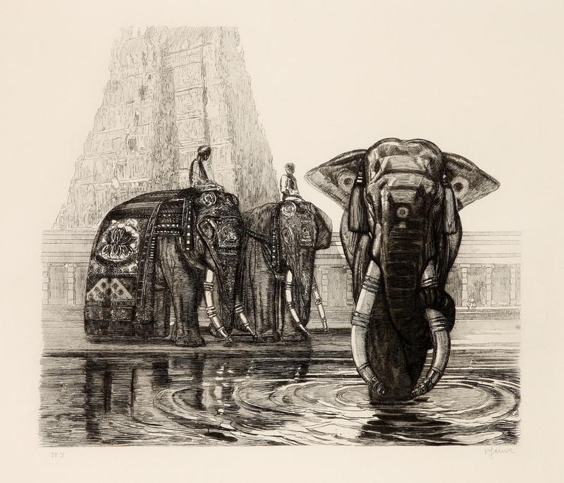 Paul JOUVE - Stampa Multiplo - Eléphant du temple de Madura