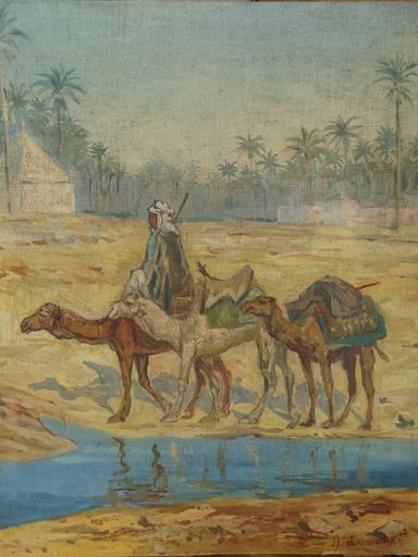Aleksander LASZENKO - Pintura - Beduine mit 3 Kamelen