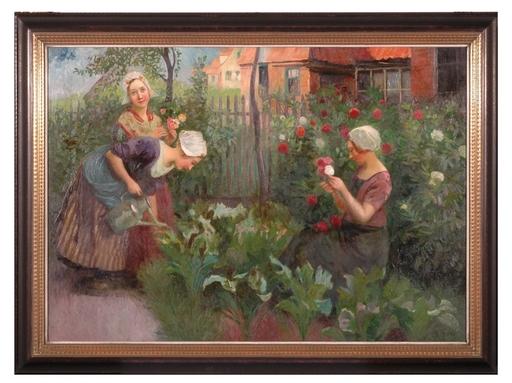"""Carl DUXA - Peinture - """"Dutch Gardeners"""" by Carl Duxa, Oil on Canvas, 19th/20th C"""