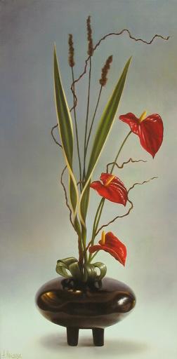 Albert BENAROYA - Pittura - Ikebana with Anthurium