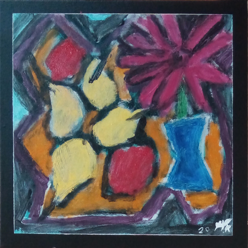 Harry BARTLETT FENNEY - Pittura - still life (fruitbowl ,flower)