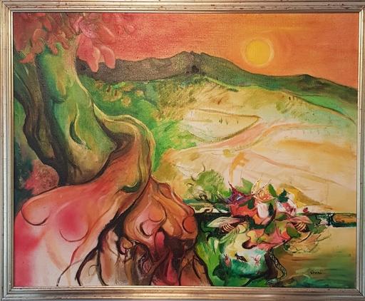 Enrico VISANI - Painting - Bees at the sunset - Abeilles au couché du soleil
