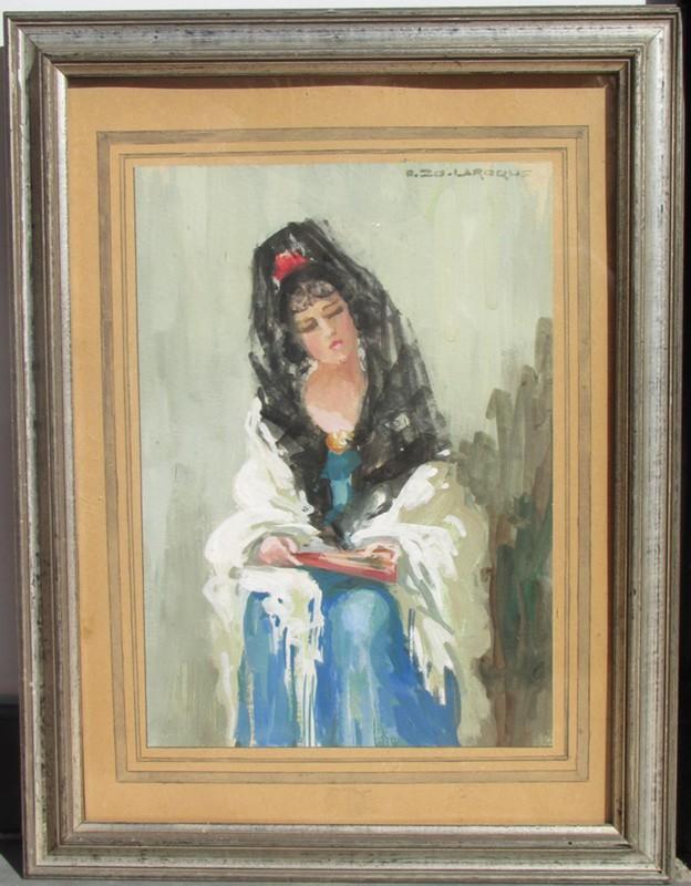 Blanche Marie A. ZO-LAROQUE - Dessin-Aquarelle - L' Andalouse