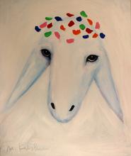 Menashe KADISHMAN - Painting - Azure sheep head with a tiara