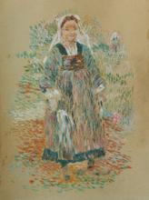 Jean-Bertrand PÉGOT-OGIER - Drawing-Watercolor - Jeune fille à la fleur