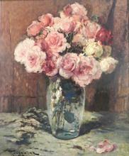 Fernand TOUSSAINT - Pintura - Nature morte au vase de fleurs