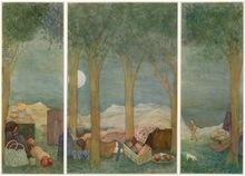 "Elie ABRAHAMI - Zeichnung Aquarell - Full Moon ""Triptique"""
