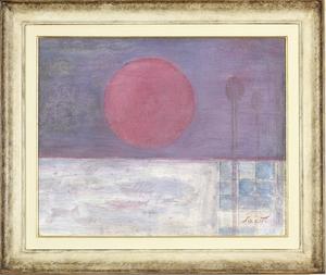 Bruno SAETTI - Painting - Paesaggio con sole