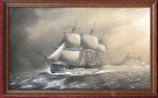 """Etienne PAYEN - Drawing-Watercolor - """"L'océan - trois mats de haut bord faisant route aux abords"""