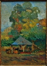 Paul Elie GERNEZ - Pintura - Le lavoir sous les grands arbres, circa 1913